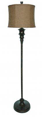 """Bronze Floor Lamp, CVAQP940 - Bronze Floor Lamp (Rust Woven Shade) measures 13"""" x 14"""" x 10"""" #Lamps"""