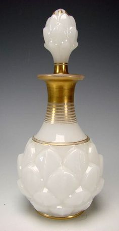 Antique French Baccarat Gilt Glass Artichoke Opaline Scent Perfume Bottle from the 1845-1860 era