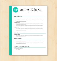 Looking for a professional resume template? The Ashley Roberts design is for you. The bright teal stripe and initial logo are not only trendy, but