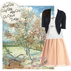 Ballerina Blazer {Peach, White, Navy} Spring Flirty Casual, created by getsnazzy on Polyvore