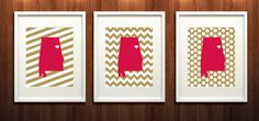 Jacksonville Alabama State Set of Three Giclée by PaintedPost, $37.00 - Jacksonville State University - What a great and memorable gift for graduation, sorority, hostess, and best friend gifts! Also perfect for dorm decor! :)