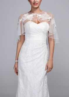 Crinkle Chiffon Cape with Lace Appliques - Ivory, MISS