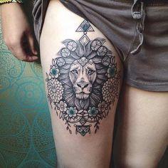 Mandala Lion Thigh Tattoo Idea for Women