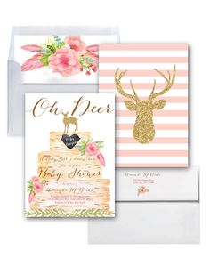 It's a Girl Baby Shower Invitation // Oh Deer // Girl // Pink // Boho Chic  // Birch // Woodland // Gold Glitter // ASHEVILLE COLLECTION by MerrimentPress on Etsy https://www.etsy.com/listing/484124219/its-a-girl-baby-shower-invitation-oh