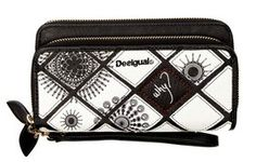 Desigual women's Two Levels Geo purse. Desigual motifs subtly combined with white, black and red. Check out the details and finishes on the gold chains and zips. How can you resist such a gorgeous purse Zipper Bags, Long Wallet, Gold Chains, Zip Around Wallet, How To Wear, Geo, Black, Polyvore, Dresses