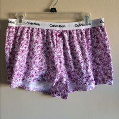 Calvin Klein sleep shorts These are Calvin Klein sleep shorts in a white and purple flower design size l Calvin Klein Intimates & Sleepwear Pajamas