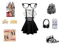 """Geek"" by samyiahally on Polyvore featuring NIKE, Aéropostale, Beats by Dr. Dre, Loushelou, Charlotte Russe and Urban Decay"