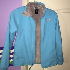 North Face Turquoise Girls Jacket A turquoise girls medium 10/12 North Face Jacket. Some wear, but still good condition. The North Face Jackets & Coats