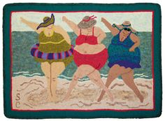 """BEACH BALLET by Sue Cunningham of Encompassing Designs -- another """"women of abundance"""" series rug design. Applique Patterns, Applique Quilts, Quilt Patterns, Small Quilts, Mini Quilts, Beach Quilt, Rug Hooking Patterns, Hand Hooked Rugs, Fabric Pictures"""