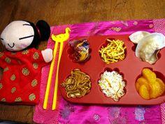 Fried Noodles, Steamed Pork Dumplings, Chicken lo mein, Shrimp Fried Rice, Mandarin Orange slices.