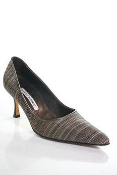 Manolo Blahnik Brown Canvas Pointed Toe Stiletto Pumps Size 38.5 8.5 in Box