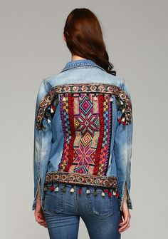 Bohemian Embroidery Denim cross-stitch embroidered jacket with fringe - Denim cross-stitch embroidered jacket with fringe. Embellished Jeans, Embroidered Jacket, Ropa Upcycling, Denim Ideas, Look Boho, Denim And Lace, Recycled Denim, Couture, Vintage Embroidery