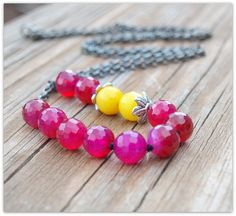 HOLIDAY SALE Gemstone Necklace Hot Pink and Canary Yellow Long Beaded Necklace by LoveDesignsBoutique #BlackFriday #CyberMonday