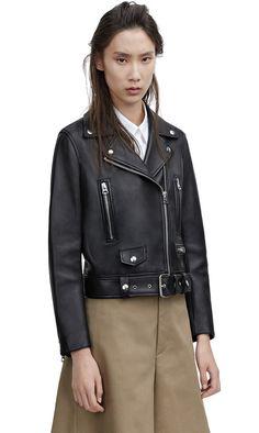 Mock black classic leather jacket with biker details #AcneStudios #Resort2015