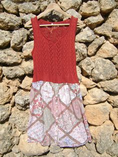 Shabby Chic Upcycled Tunic Dress in Rust and by NuLifeClothing, $50.00