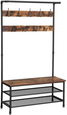 Enjoy exclusive for VASAGLE Industrial Coat Rack Storage Bench, Pipe Style Hall Tree 9 Hooks, Multifunctional Sturdy Iron Frame Large Size online - Seetopstar Industrial Coat Rack, Industrial Living, Industrial Style, Industrial Pipe, Industrial Furniture, Vintage Industrial, Coat And Shoe Rack, Coat Racks, Outdoor Furniture Sofa