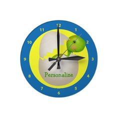 Personalized newly hatched baby dinosaur clock. A cute baby shower gift. $23.95
