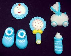 Item38934  Large Blue Baby Set Royal Icing CakeCupcake Decorations 12 Ct * Details can be found by clicking on the image.