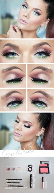 Pink n lime make up with dark reddish brown/ burgundy ombrè hair Linda hallberg makeup