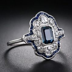 Vintage Jewelry Art Deco Sapphire and Diamond Dinner Ring - - Lang Antiques Art Deco Schmuck, Bijoux Art Deco, Schmuck Design, Art Deco Jewelry, I Love Jewelry, Jewelry Rings, Jewelry Accessories, Fine Jewelry, Jewelry Design