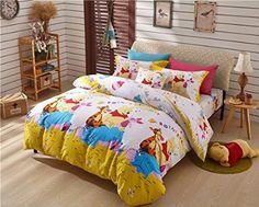 Sisbay Winnie the pooh and Tigger Bedding Set Twin Size Yellow,Boys Girls Cartoon Duvet Cover,Disney Print Bed Sheet Child Birthday Gift,4pcs