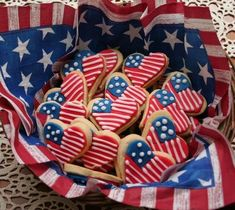July 4th heart-shaped flag cookies