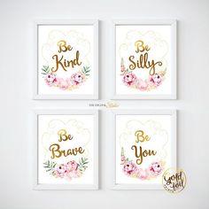 Floral Boho Chic Nursery, Boho Gold and Pink Nursery Art, Pink and Gold Nursery Art, Girl Room Gold Decor, Gold foil Art