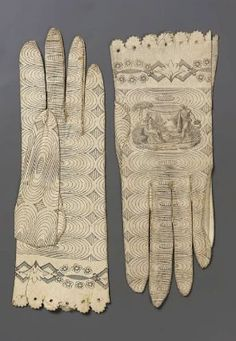 Pair of womens gloves, printed kid, Spanish, MFA - looks like doodling to me. Wonder if sharpie on imitation leather would work? Historical Costume, Historical Clothing, 1800s Fashion, Vintage Fashion, Mitten Gloves, Women's Gloves, Vintage Accessories, Fashion Accessories, Best Gloves