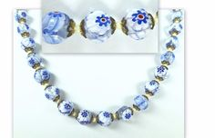 """HIGH QUALITY MILIFIORE HANDMADE BLUE WHITE GLASS CLEAR BEAD VINTAGE NECKLACE-22"""" #Unsigned"""
