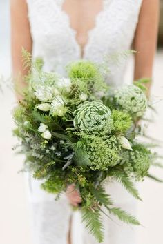 Black & White Ocean Bridal Ideas- Greenery Bouquet – Queen Anne's lace, Ferns, Frisia's - Fern Wedding, Botanical Wedding, Woodland Wedding, Floral Wedding, Wedding Flowers, Sage Wedding, Boho Wedding, Wedding Colors, Wedding Ideas