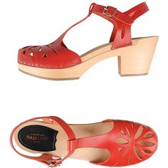 Swedish Hasbeens Sandals (790 RON) ❤ liked on Polyvore featuring shoes, sandals, red, genuine leather shoes, red shoes, swedish hasbeens sandals, swedish hasbeens and red leather shoes