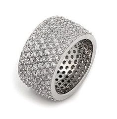 Popular Bling Jewelry Sterling Silver Pave CZ Wide Band Cocktail Ring by Bling Jewelry at the XYS Online
