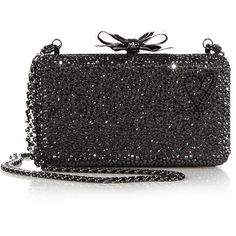 Christian Louboutin Fiocco Embellished Clutch ($3,460) ❤ liked on Polyvore featuring bags, handbags, clutches, apparel & accessories, embellished handbags, bow handbag, heart shaped purse, chain strap purse e crystal clutches
