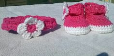 Baby booties and matching head band for baby shower