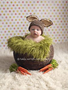 Brown Baby Bunny Hat, Great Photo Prop, Perfect for Easter or Spring,Animal, Handmade, Knitted, Newborn, 3-6 months