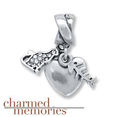 Charmed Memories Cat Heart Charm Sterling Silver
