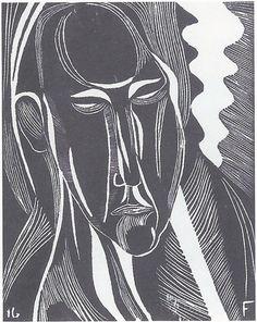 Otto Freundlich Tête / Head Gravure sur bois / Woodcut 29 x 23 cm 1916