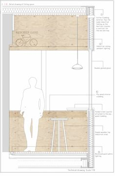 Kitchen Lane - Marianne Khan Design-interior Section Plans Architecture, Architecture Graphics, Interior Architecture, Studio Interior, Home Interior Design, Interior Paint, Pastel Interior, Interior Office, Cafe Interior