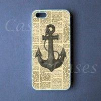 Iphone 5 Case - Iphone 5 Cover - Anchor on Newspaper PRE ORDER (Ships Oct 1)