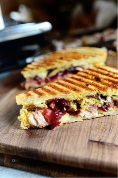 Leftover Thanksgiving Panini ~ Ree Drummond -- this is seriously my perfect sandwich! I would leave off the cheese Yum! Thanksgiving Leftovers, Thanksgiving Recipes, Fall Recipes, Holiday Recipes, Wrap Recipes, Pioneer Woman Thanksgiving, Thanksgiving Parade, I Love Food, Good Food