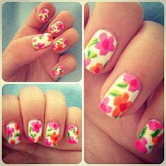 Hawaiian floral nail art, so simple but looks great all summer long or even in winter to brighten up those cold days