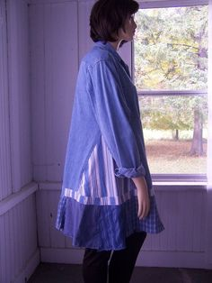 Upcycled Upcycled Button Front Dress Shirt by SWEETBEARIESVINTAGE, $72.00