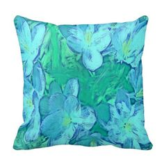 Ocean Floral Abstract - Painterly Pillows