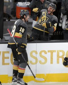 Vegas Golden Knights defenseman Clayton Stoner (4) celebrates Vegas Golden Knights right wing James Neal's (18) goal against the Arizona Coyotes during the Knights home opener Tuesday, Oct. 10, 2017, at the T-Mobile Arena. The Knights won 5-2 to extend their winning streak to 3-0. CREDIT: Sam Morris/Las Vegas News Bureau Golden Knights Hockey, Vegas Golden Knights, Las Vegas Knights, Indian Springs, Marc Andre, Arizona Coyotes, North Las Vegas, National Hockey League, Ice Hockey