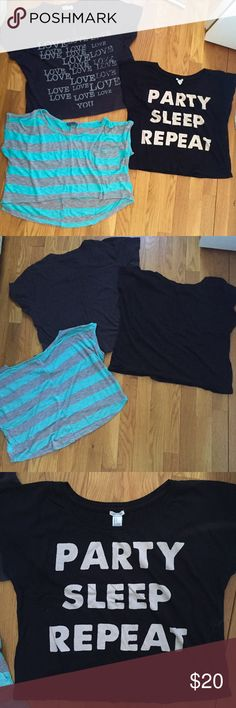 """3 Adorable Cropped T-Shirts! Excellent Condition! Listing is for 3 Fun, Cropped, Tshirts! All in Excellent Condition! 1st T-Shirt: NWOT, Forever 21, Size S, Cropped, Solid Black w/""""Party Sleep Repeat"""" Printed on the Front (pic#:3); 2nd Tee: Also From Forever21, Size M/L, Loose, Cropped, Fit, Says """"I Love You""""-""""Love"""" is Repeated >20xs, Worn 3-4xs (pic#:4); 3rd Top is Size M, Loose,Cropped,Hi-Low Style-Bright Turquoise & Light Gray Stripes,Small Chest Pocket(pic#5),EUC. Price is for All 3-But…"""