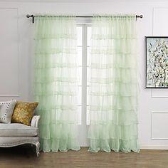 (One Panel Rod Pocket) Elegant Minimalist Light Green Solid Plicate Sheer Curtain – USD $ 19.99
