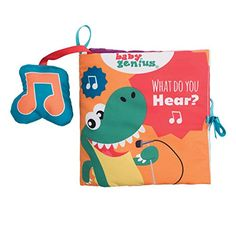 Baby Genius What Do You Hear Soft Activity Book with Sound for Infants by Manhattan Toy *** ON SALE Check it Out