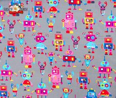 Funky Robot Grey Pin Cord, Super Soft, Extra Wide, 100% Cotton
