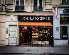 Boulangerie French Bakery Vintage sign by castleandcottage on Etsy Orange Cafe, Orange Store, Storefront Signage, Store Signage, Small Coffee Shop, Coffee Shop Design, Paris Photography, Color Photography, Deli Shop