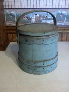 9.75in tall (not including handle) VINTAGE PRIMITIVE ANTIQUE BLUE PAINTED WOOD FIRKIN SUGAR BUCKET PANTRY BOX